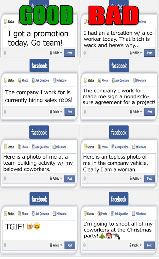 good versus bad facebook posts about your career