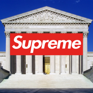 supreme court building with supreme logo